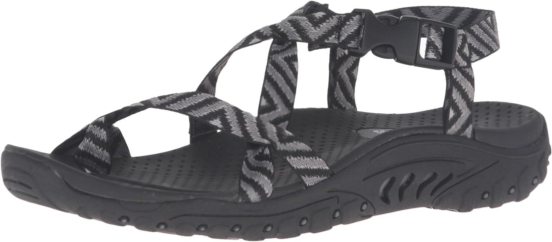 Skechers Women's Reggae-Haystack Toe Ring Sandal, Black Grey, 6 M US