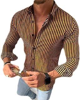 CRYYU Men Buttons Long Sleeve Slim Fashion Striped Business Dress Shirts