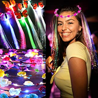 LED Flower Crowns Lights Hair, JUSTDOLIFE 14 Pack LED Flower Wreath Headband with Light-Up Fiber Luminous Butterfly Flash Braid Hairpin for Girls Bar Party Wedding Holiday