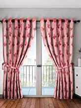 Cortina Series Digital Floral Print Polyester Door Curtains for Bedroom, Kitchen, Kids or Living Room- Pink (Width-115 cm x Length-210 cm)