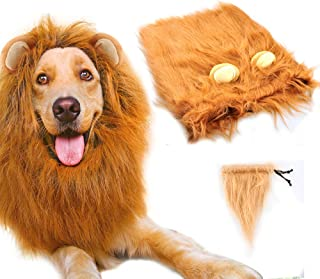 Gimilife Dog Lion Mane, Lion Mane Wig Costumes for Medium to Large Sized Dog with Ears & Tail, Fancy Lion Hair for Holiday Photo Shoots Party