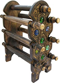 12 Star Handmade Wooden Bangle 6 Rods Holder Beautifully Crafted Foldable Jewellery Stand for Women (Black)