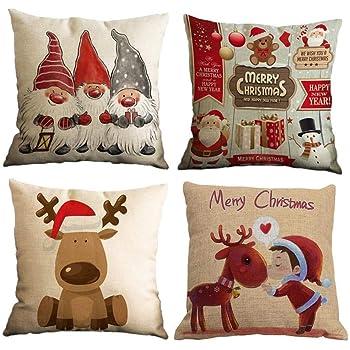Yidaxing 4 Pack Funda De Almohada De Navidad, Feliz Navidad ...
