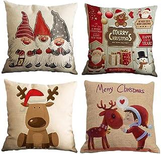 Yidaxing 4 Pack Funda De Almohada De Navidad, Feliz Navidad