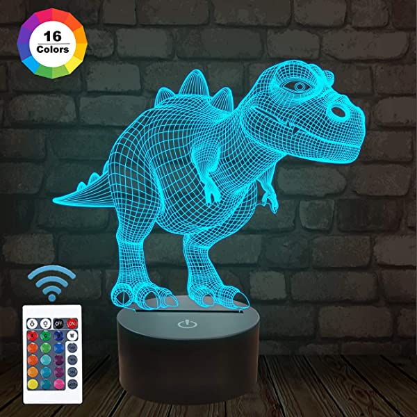 FULLOSUN Night Light For Kids Dinosaur T Rex 3D Night Light Bedside Lamp 16 Colors Changing With Remote Control Xmas Halloween Birthday Gift Toys For Child Baby Boy