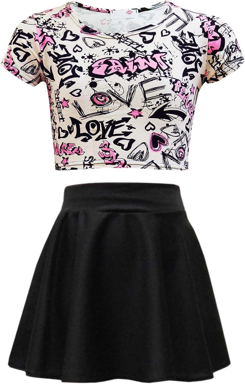 Amazon.com: Kids Girls Love Graffiti Crop Top & Black Skater Skirt Set 7 8  9 10 11 12 13 Yr: Clothing