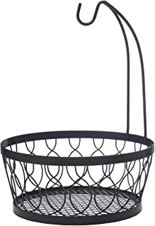 Pfaltzgraff 5214266 Rustic Farmhouse Wire Fruit Basket with Banana Hook, 11-Inch, Antique Black