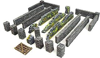 War World Gaming World at War stenvägg och pelarsektioner stor uppsättning – 28 mm WW2 Normandie Wargame terräng modell di...