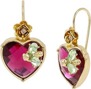 Stone Heart Drop Earrings