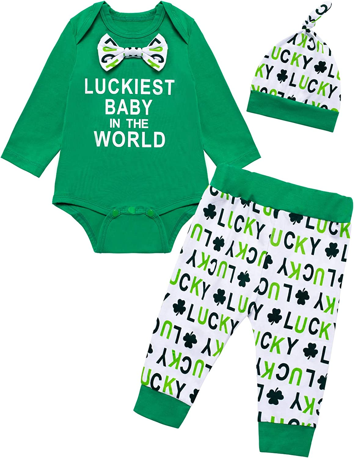 Fantasy Era Newborn Baby Boys St.Patrick's Day Outfits Set Luckiest Baby in The World Clover Pants Set with Hat