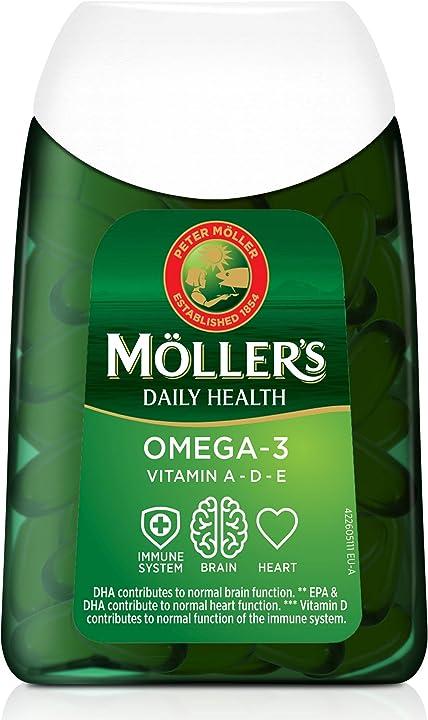 Omega-3 in capsule    olio di pesce   integratore dietetico omega-3 nordico con epa, dha, vitamine a, d ed e Mollers-5702071388241