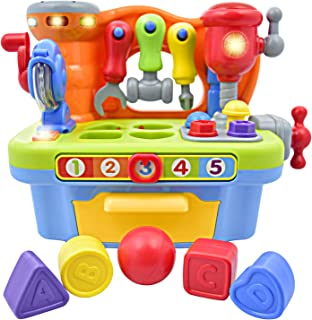 CoolToys Toddler Toy Workshop Playset with Interactive Sounds and Lights, Kids Educational Toy for Learning Colors, Shapes, Numbers, and Alphabet