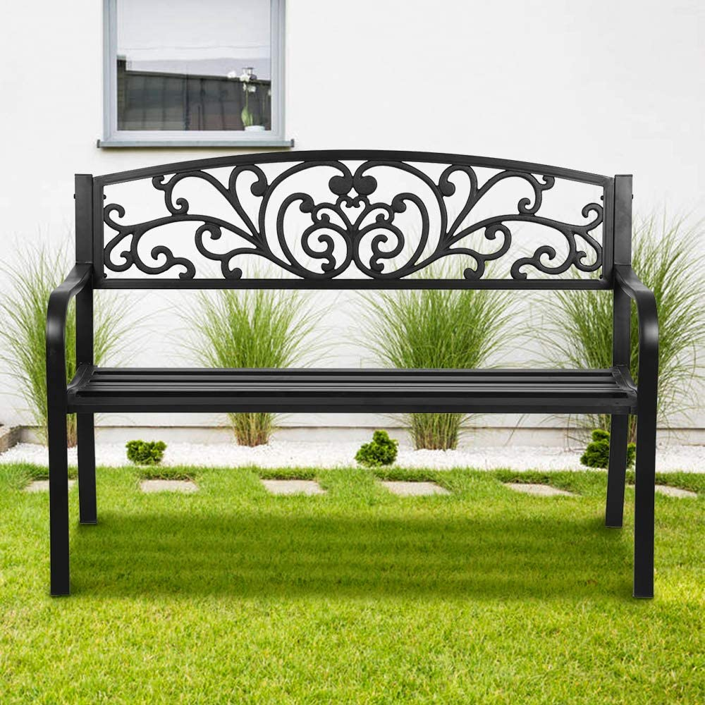 Patio Bench Park Bench Outdoor Bench Garden Bench,Metal Pack Bench with Armrests 480lbs Cast Iron Sturdy Steel Frame Furniture Chair for Porch Entryway Lawn Decor Deck