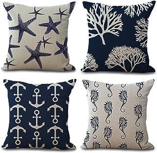 YANGYULU Ocean Theme Starfish Sea Horse Coral Anchor Cotton Linen Home Decorative Throw Pillow Case Cushion Cover for Couc...