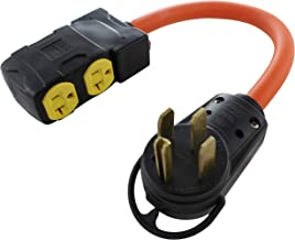 AC WORKS Protective Adapter to (4) Household Connectors with 20-Amp Circuit Breaker (14-50 4-Prong 50A Straight Blade Plug)
