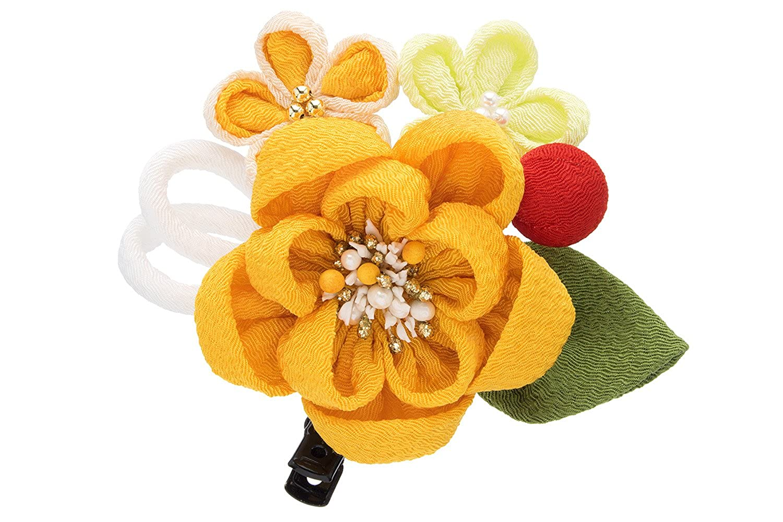 (ソウビエン) 成人式 髪飾り 菊 花 コサージュ つまみ細工 丸ぐけ紐 玉飾り 縮緬 ヘアアクセサリー 振袖向け 卒業式向け 日本製