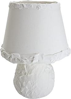 Chrisell Decor Oggetti d'Arte - Lampada da Tavolo Decorazione Arte Materica Gesso su Ceramica abat jour da atmosfera Bianc...