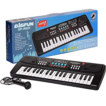 divine man Electronic Piano Keyboard with 37 Keys and Microphone (Black)