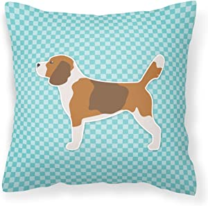 Caroline's Treasures BB3710PW1414 Beagle Checkerboard Blue Fabric Decorative Pillow, 14Hx14W, Multicolor