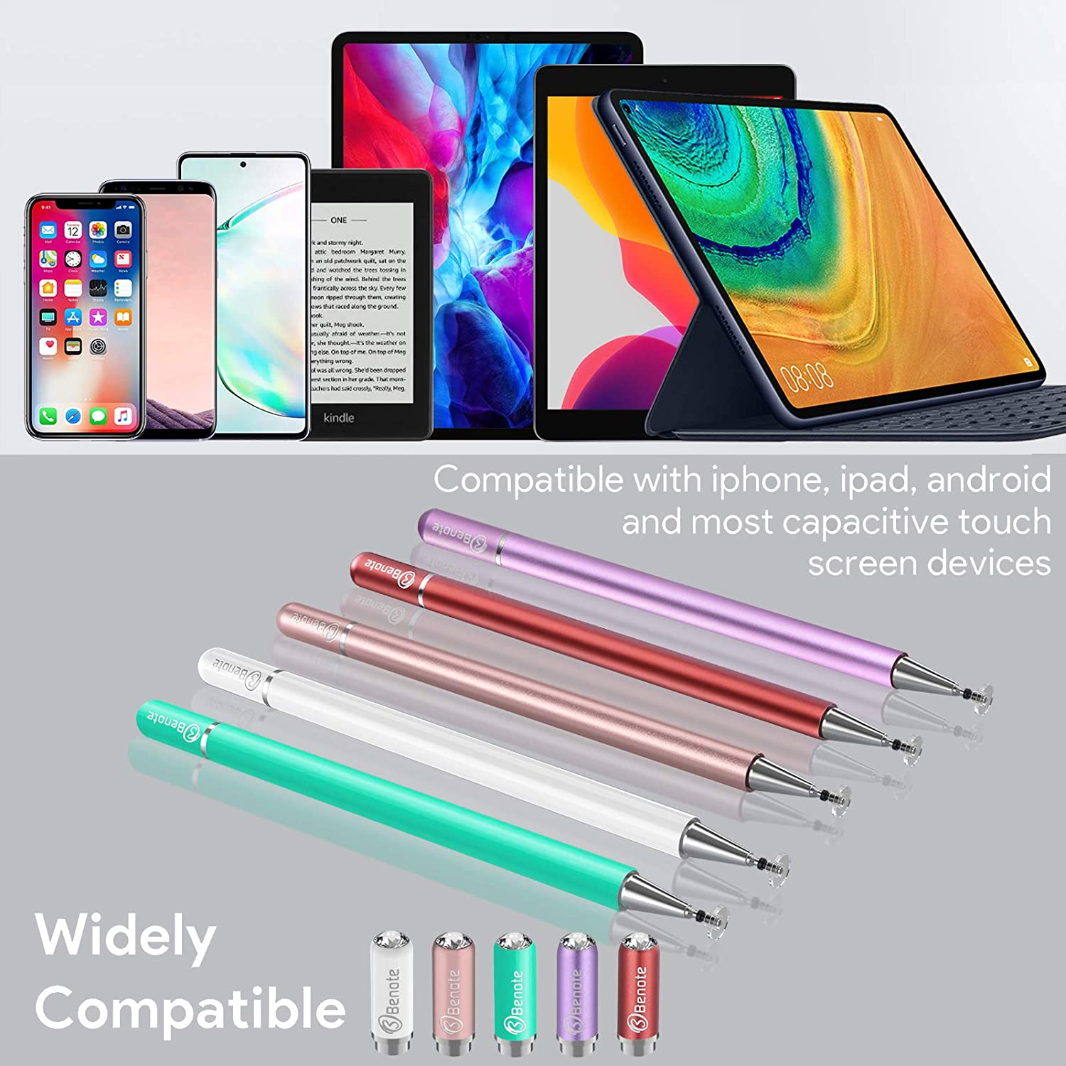 Stylus Pens for Touch Screens, Fine Tip Stylus Pen Drawing and Writing 2-in-1 Disc Tips High Sensitivity Stylus Pen for ipad, iPhone, Apple, Android, Tablet, hp Chromebook, Phone, Tablet - Purple