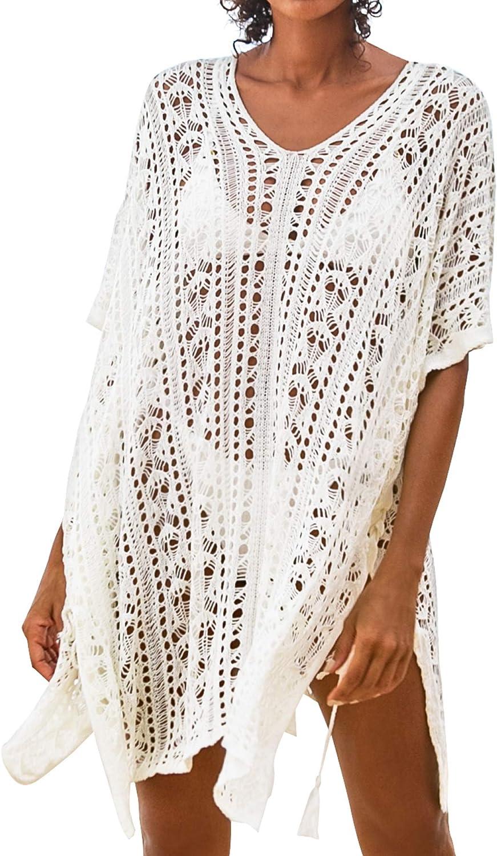 CUPSHE Women's Swim Cover Up Crochet Lace Sheer Coverups Bikini Swimsuit Beach Dress White