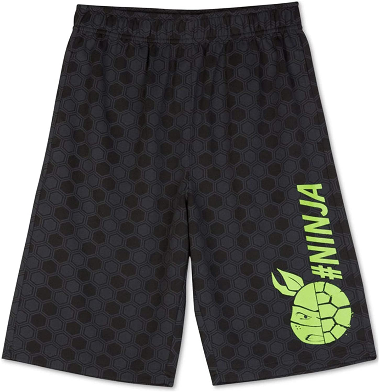Nickelodeon Boys TMNT #Ninja Athletic Workout Shorts, Black, M (12)