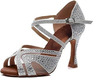Zapatos de Baile Latino para Mujer Salsa Tango Bachata Vals con Pedrería Zapatos de Baile de Salón Suela Blanda 1050