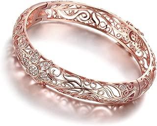 18K Rose Gold-Plated Creative Design Elegant Pattern Bangle Bracelet for Women