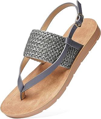 gracosy kvinnor låg platt klack flip-flop sandaler sommar utomhus mjuk klämma tå boho strandsandaler för dammode T-rem sandaler komfort vardagliga promenadskor halkskydd på tofflor