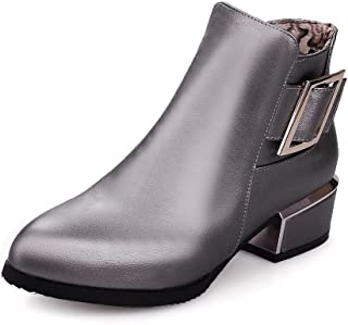 Women's Low-Heels Pointed Closed Toe Pu Low-Top Solid Zipper Boots, Gray-Zippers, 43