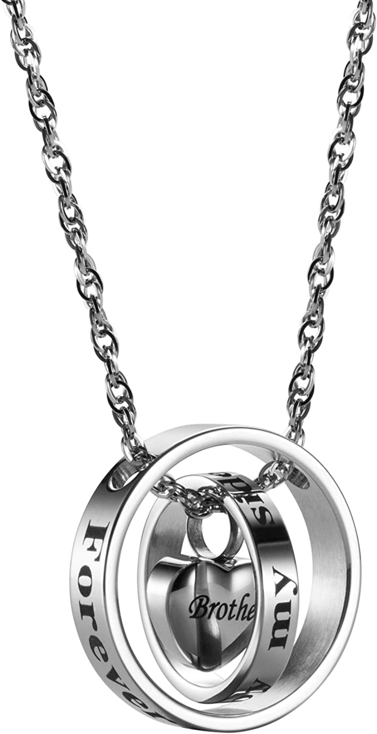 AMIST Brother Cremation Necklace for Ashes Brother Urn Necklaces for Ashes Cremation Jewelry for Women