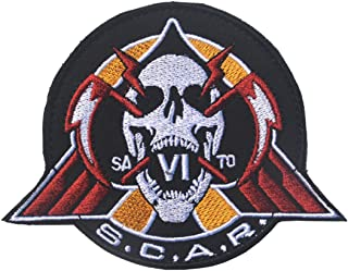 """Call of Duty Scar w Skull Logo 3.15""""x3.94""""-Funny Emblem Embroidered Fastener Hook & Loop Patches Appliques Badge Tags for ..."""