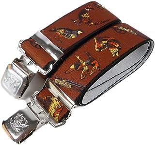 Made In Gran Bretagna Marrone o verde Clip e fascia elastica bretelle pantaloni da uomo con Guns fagiani cani e caccia immagini