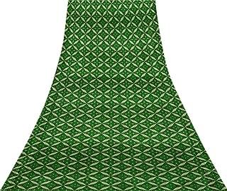 Svasti Geometrical Star Geometric VintageSari Refurbished Green 100% Pure Silk Printed Craft Fabric 5 Yard