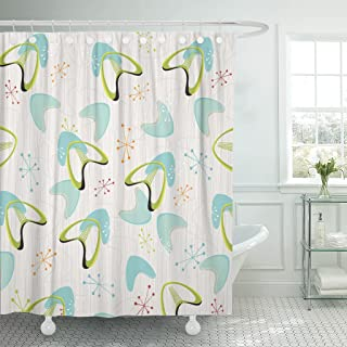 TOMPOP Shower Curtain Red 1950S Retro Bark Boomerangs Pattern Yellow 1960S 1970S Waterproof Polyester Fabric 72 x 72 inches Set with Hooks