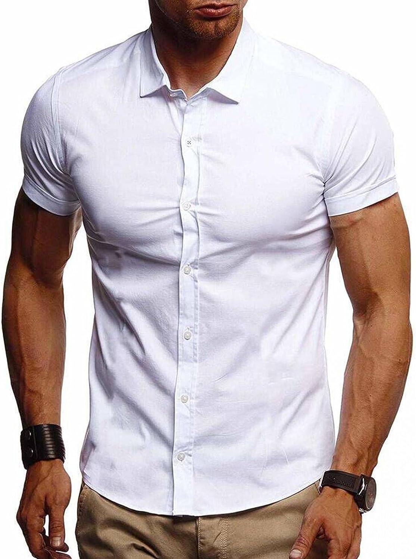 KEEYO Mens Short Sleeve Work Office Cotton Shirts Regular-Fit Summer Casual Button Down Dress Beach Shirts Tops