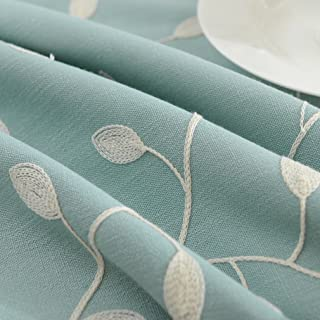 """Tina's Cotton Linen Tablecloth Leaf Embroidered Table Cover for Dinner Kitchen Blue, 39""""x55"""""""