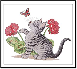 Cross Stitch Stamped Kit Quilt Pre-Printed Cross-Stitching Patterns for Beginner Kids & Adults– Embroidery Needlepoint Starter Kits, Baby Cat Play with Butterfly