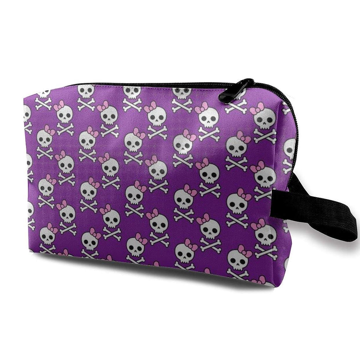 擬人委員会計画的化粧ポーチ コンパクトサイズ,かわいいスカルMicro_4074、オックスフォードの布の多彩な袋の小型旅行