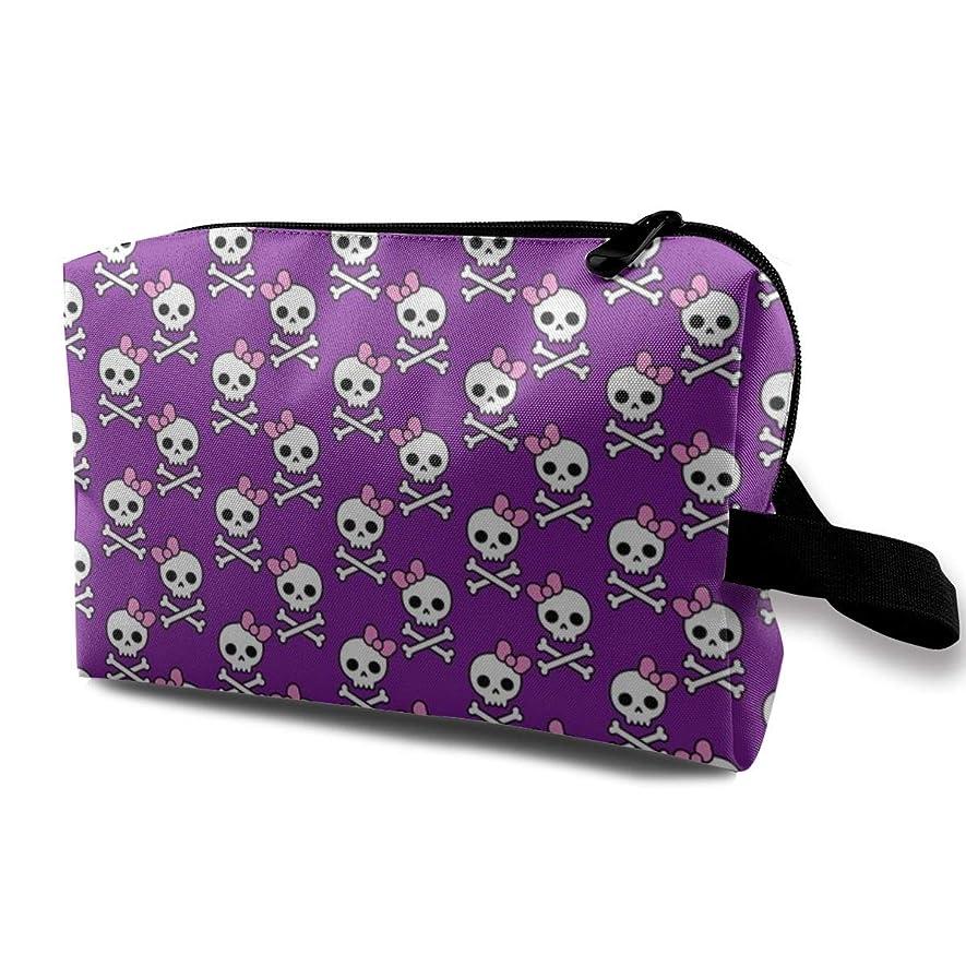 サンダースストローク化粧ポーチ コンパクトサイズ,かわいいスカルMicro_4074、オックスフォードの布の多彩な袋の小型旅行