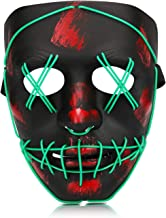 Halloween Purge Mask, Led Light Up Glowing Scary Mask with EL Wire for Kids Adults Costume Cosplay