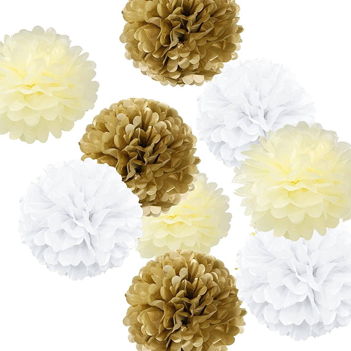 Fonder Mols 9pcs Tissue Pom Poms Paper Flowers Kit Party Hanging Flowers Ball for Wedding Birthday Bridal Baby Showers Nursery Décor (White Ivory Kahki, 8inch 10inch 14inch)
