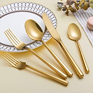 Kelenfer Flatware Cutlery Set Shiny Gold with Hexagon Handle Forged Stainless Steel For Home Hotel Use Service for 4