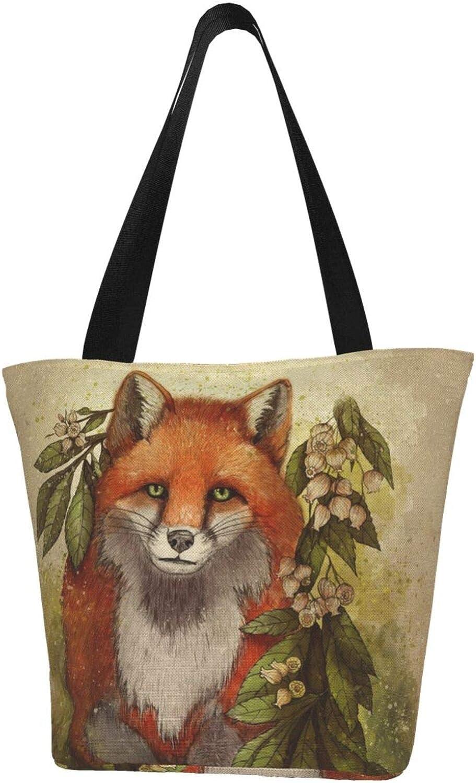 Vintage Fox Art Animals (53) Themed Printed Women Canvas Handbag Zipper Shoulder Bag Work Booksbag Tote Purse Leisure Hobo Bag For Shopping