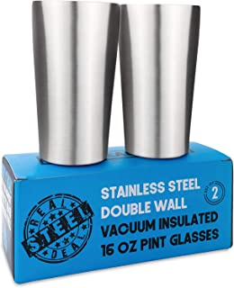 Stainless Steel Insulated Beer Tumblers - Double Wall Vacuum Pint Glasses Set of 2 - Premium Metal Cups to Keep Drinks Col...