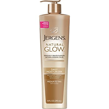 Jergens 19571 Natural Glow Sunless Tanning Lotion, Self Tanner, Medium to Tan Skin Tone, 10 Ounce Daily Moisturizer Pump, Featuring Antioxidants and Vitamin E