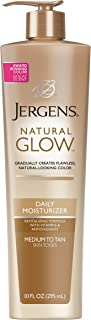 Jergens Natural Glow Sunless Tanning Lotion, Medium to Tan Skin Tone, 10 Ounce Daily Moisturizer Pump, featuring Antioxidants and Vitamin E