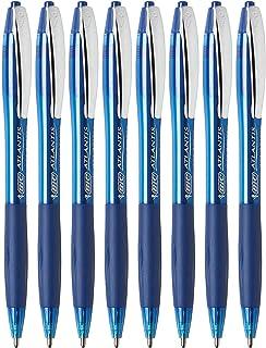 BIC Atlantis Ballpoint Pens, Retractable, Bold Point, Blue Ink, 8 Count