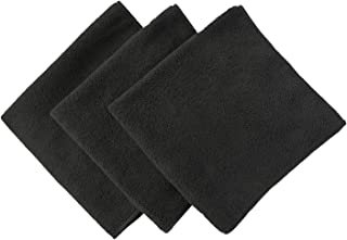 Multi-Purpose Microfiber Car Cleaning Cloths Absorbent Drying Towel 16 Inch X 16 Inch Blackx3