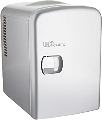 Uber Appliance Mini Fridge For Beauty, Skin Care, Makeup, Cosmetics storage - 6 can capacity portable refrigerator cooler and warmer - Thermoelectric technology - For Bedroom, office, dorm or car
